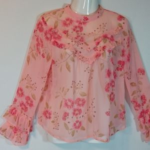 Arizona Jeans Sheer Peach Floral Top